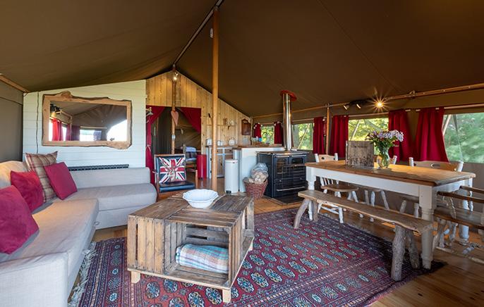 Tom's Eco Lodge safari tent living area