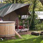 Safari tent hot tub