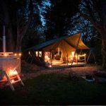 Safari tent at night