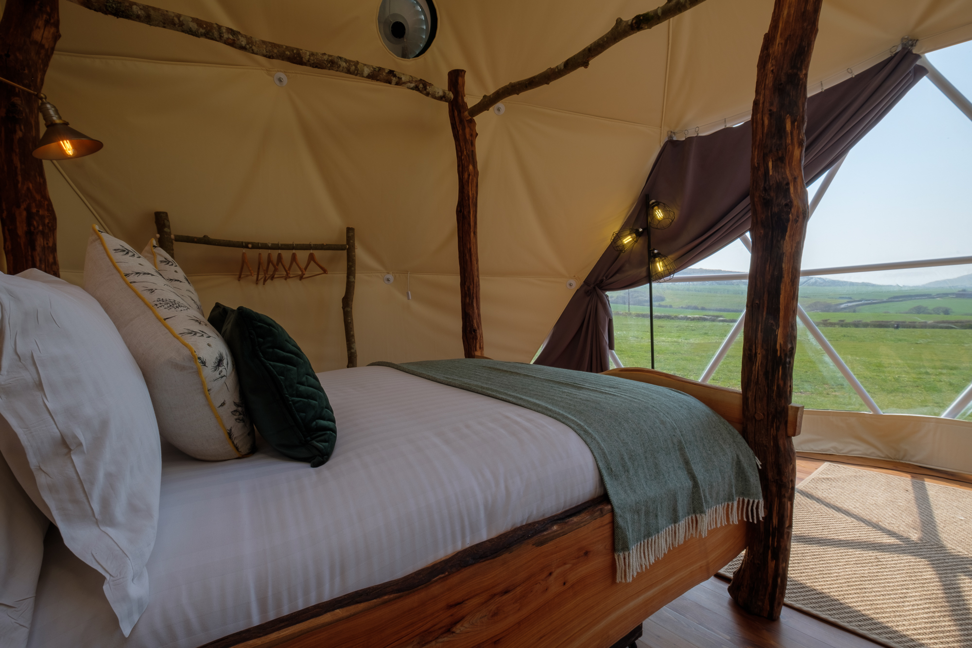 Glamping in New Dome at Tom's Eco Lodge Isle of Wight