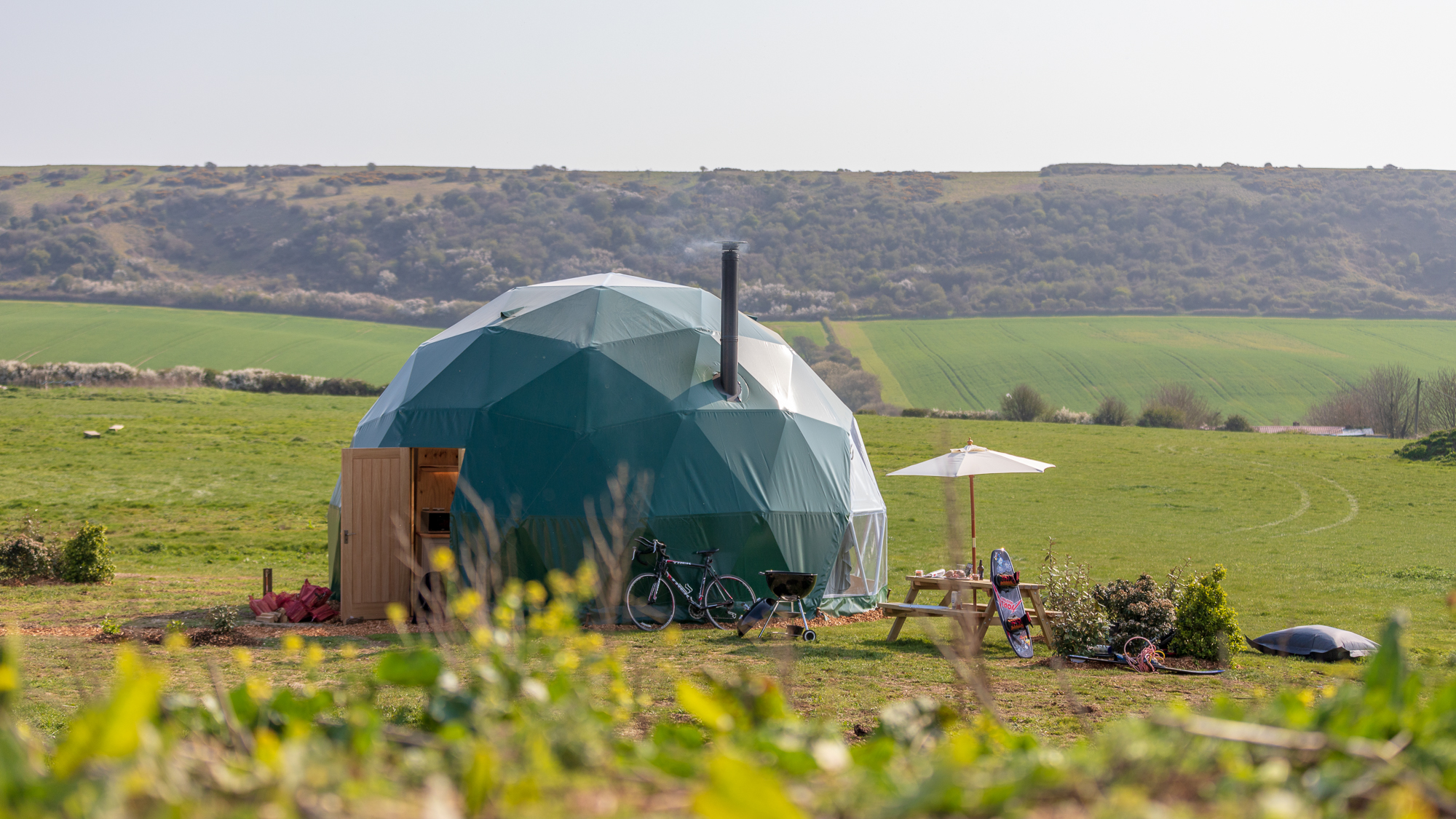 Glamping Dome Accommodation at Tom's Eco Lodge Isle of Wight