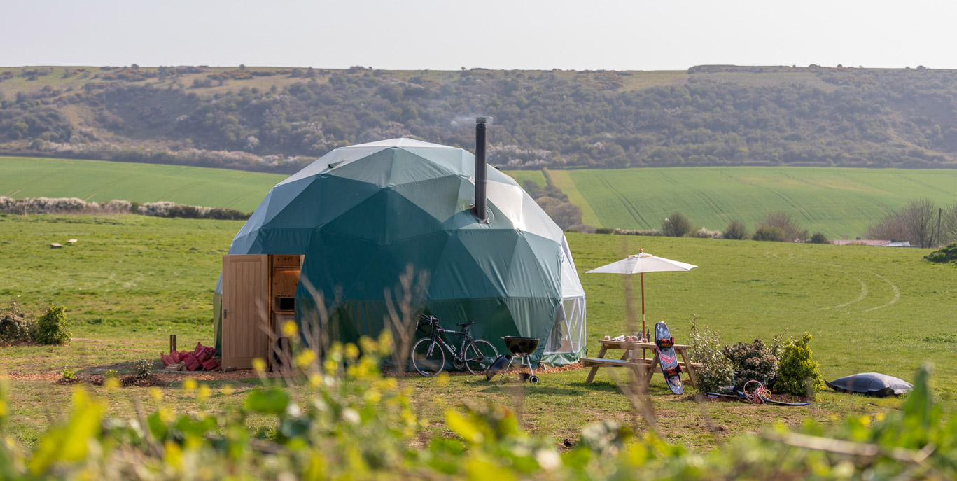 New Geodesic Dome at Tapnell Farm, Tom's Eco Lodge